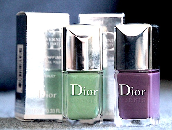 dior vernis parfumé 694 forget me not 504 waterlily test swatch