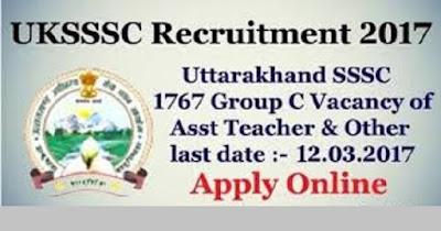 UKSSSC Recruitment 2017 for Various Group C Posts at Uttarakhand Last Date : 12-03-2017