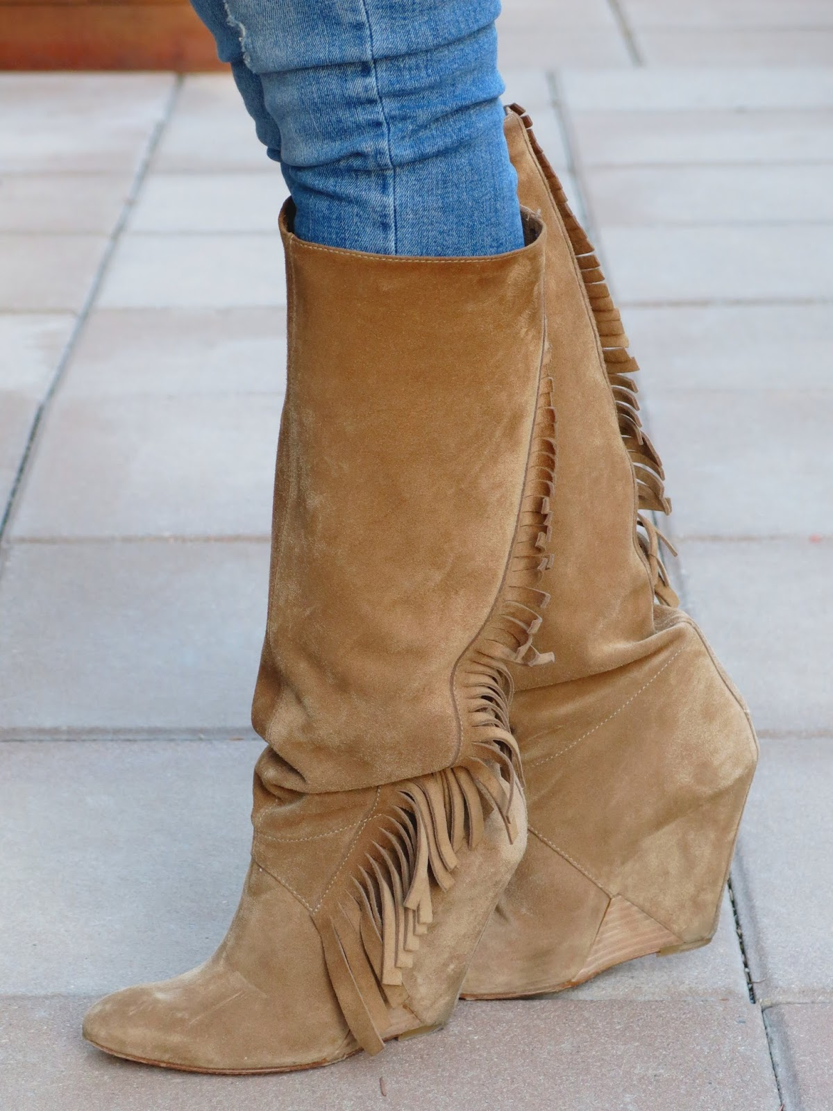 fringy wedge boots