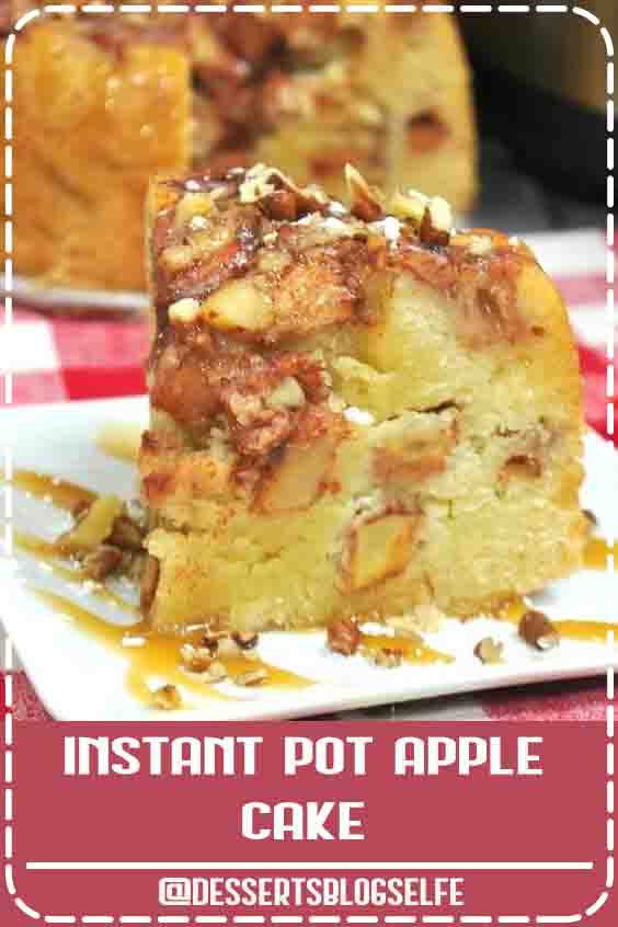 This set-it-and-forget-it Instant Pot Apple Cake is not only super easy, but super delicious! Four layers of moist cake and juicy apples in every bite!Four layers of moist cake and juicy apples in every bite! Easy recipe to make apple cake in the Instant Pot - perfect fall dessert (or for anytime!) #DessertBlogSelfe #dessert #applecinnamon #apples #cake #IP #instantpot #Fall  #videos #easy #crockpot