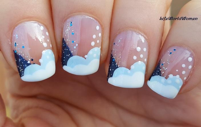 Life World Women Winter Christmas French Manicure Nail Art Idea