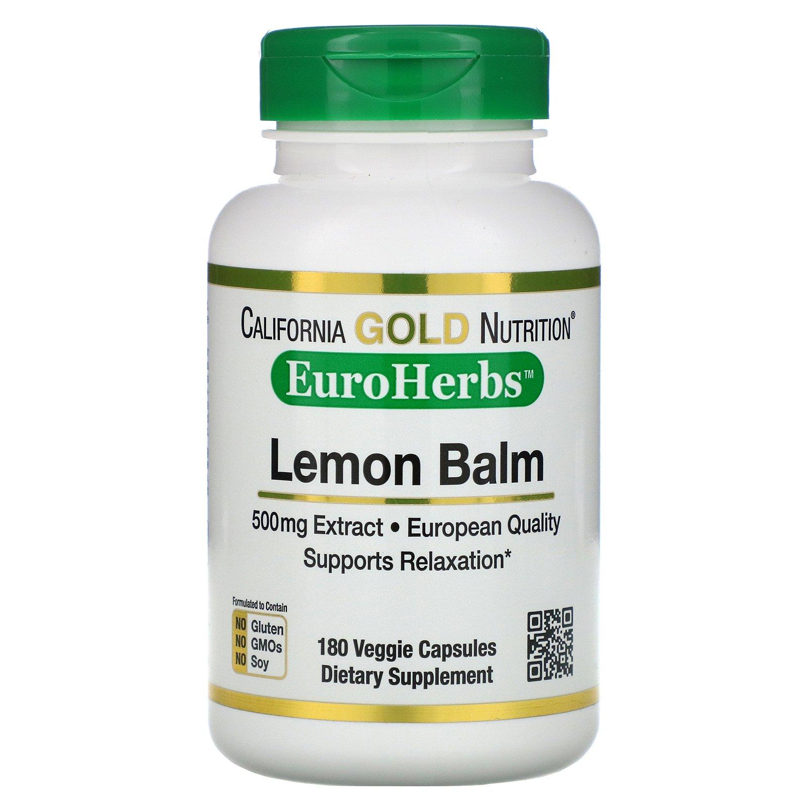 California Gold Nutrition, экстракт мелиссы, европейское качество, 500 мг, 180 вегетарианских капсул