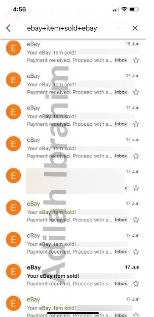 Hasil jualan di Ebay pada 17 dan 18 Jun 2021