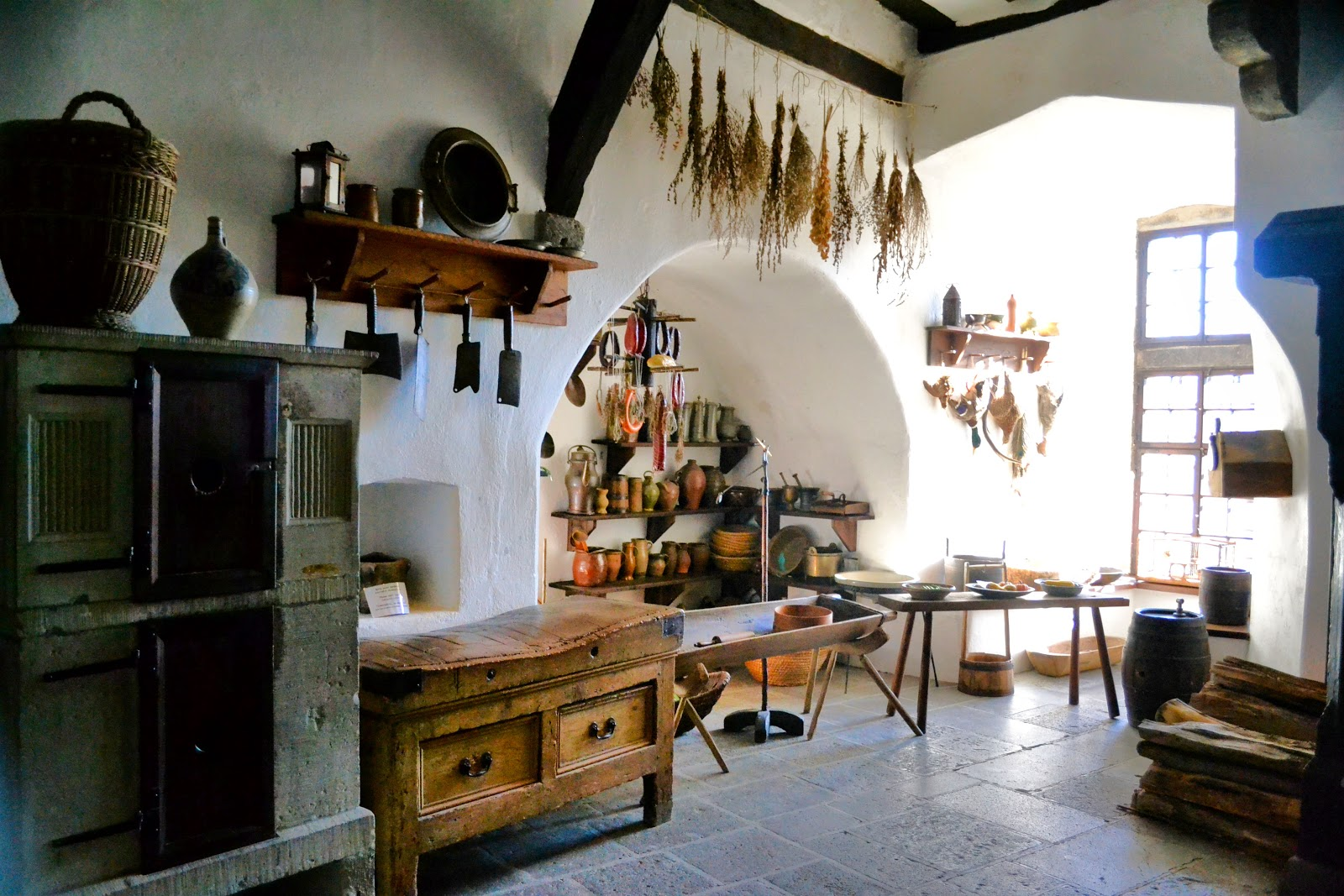 Marksburg Castle kitchen dates back to 1435 and today, can be reserved for medieval meals and festivities.