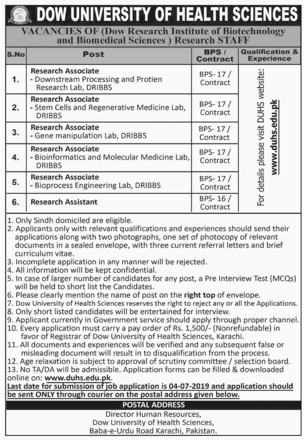 Dow University Health Sciences DUHS Karachi Jobs for Research Associate June 2019