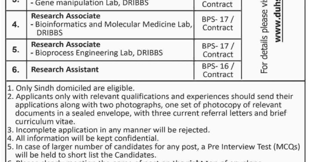 Dow University DUHS Karachi Jobs for Research Associate June