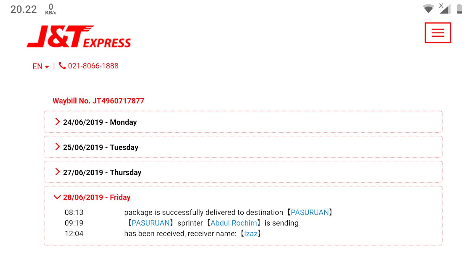 Tracking J&T Express