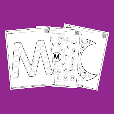Letter M dot markers free preschool coloring pages ,learn alphabet ABC for toddlers