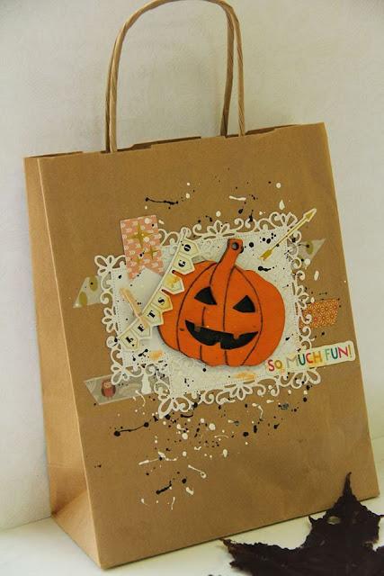 torebka na słodycze ozdobiona dynią