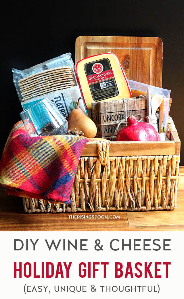 Need a thoughtful gift for a wine lover in your life? Surprise them with an easy wine & cheese gift basket! Assemble one in minutes with wine, cheese, crackers, fruit + a few complimentary goodies. You can make it as simple or fancy as you like. Get creative & have fun with it! Keep reading for more tips, ideas & inspiration. And remember, always drink responsibly!