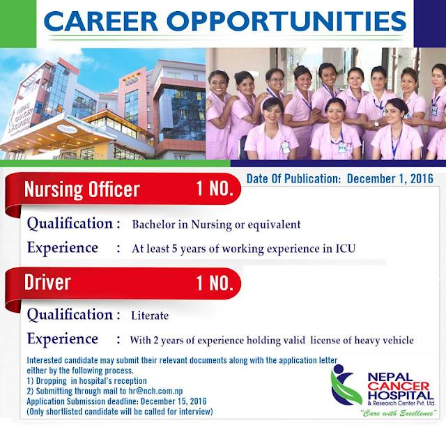 Nursing Officer Vacancy at Nepal cancer hospital