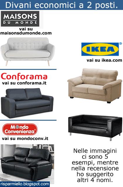 Risparmiello Divani 2 posti economici Ikea Mondo Convenienza Conforama prezzi