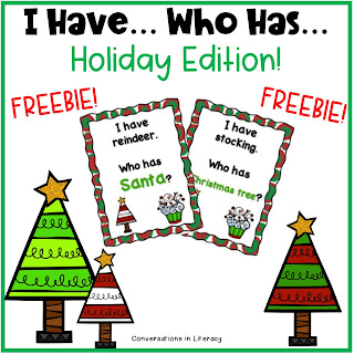I Have Who Has Holiday Edition Freebie game