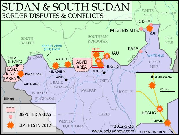Map of the border between Sudan and South Sudan, marking selected territorial disputes and border clashes in 2012. Includes inset map of April fighting in region of Heglig oil field.