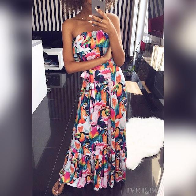 Μοντέρνο  μάξι χρωματιστό φόρεμα JAMELIA