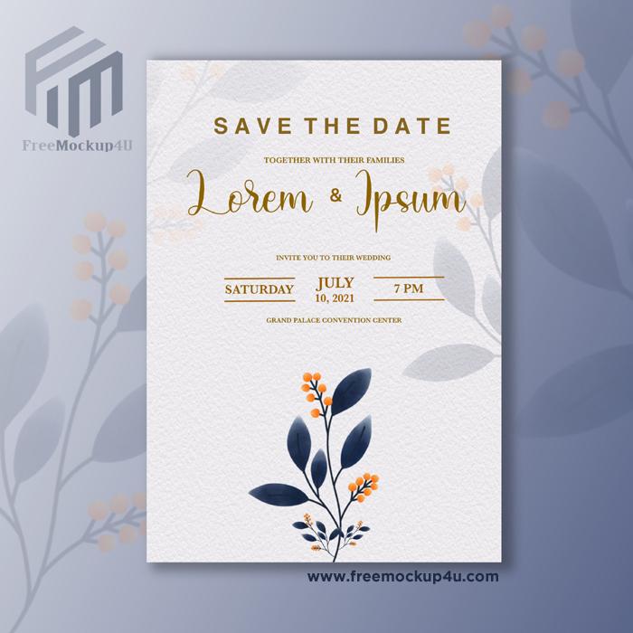 Minimalist Wedding Invitation With Blue Flower
