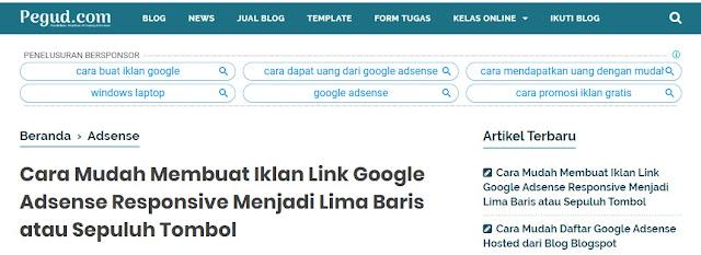 Iklan link Google Adsense di bawah navigasi