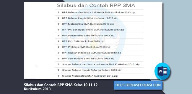 Silabus dan Contoh RPP SMA Kelas 10 11 12 Kurikulum 2013