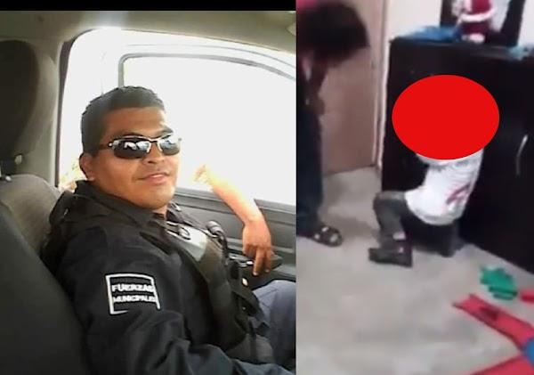 Policía municipal g0lpea a su hijo; redes lo identifican (Video) DIFUNDE