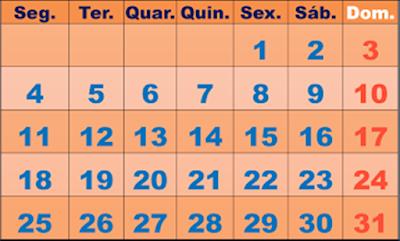 A foto mostra o calendário de um m