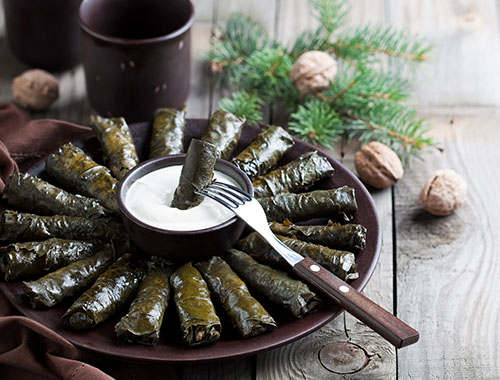 Baked grape leaves