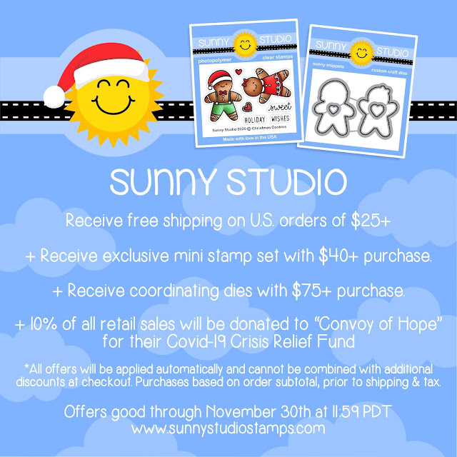 Sunny Studio Stamps 2020 Black Friday Promotions with Free Shipping on $25+ order, Free exclusive Mini Stamp on $40+ order and Free Coordinating Dies on $75+ orders & 10% donated to Convoy of Hope's Covid-19 Crisis Relief Fund