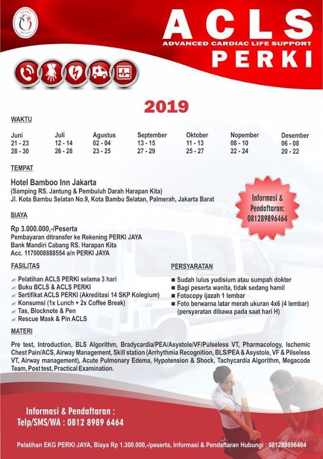 Jadwal Pelatihan ACLS PERKI JAYA Tahun 2019 Jakarta
