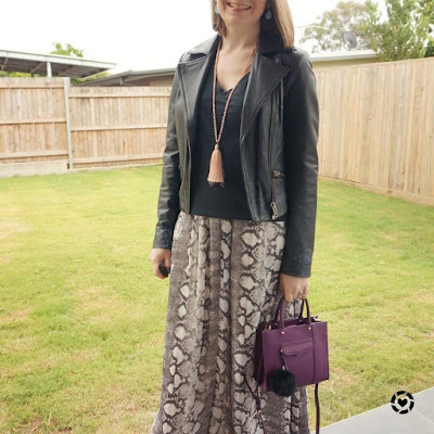 awayfromblue instagram | 5th birthday party outfit tee over snake print maxi dress leather jacket colourful accessories