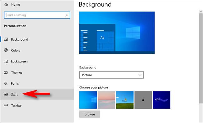 """في إعدادات Windows 10 ، انقر فوق """"ابدأ"""" في الشريط الجانبي."""