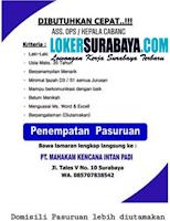 Bursa Kerja Surabaya di PT. Mahakam Kencana Intan Padi Agustus 2020