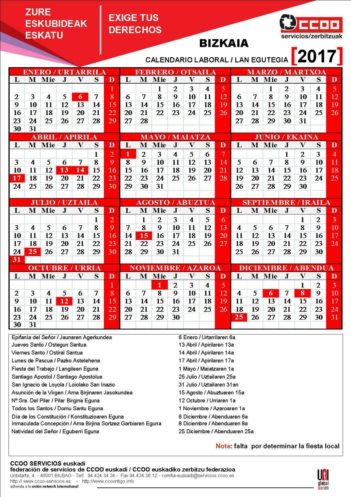 rlt satec bilbao calendario laboral bizkaia 2017