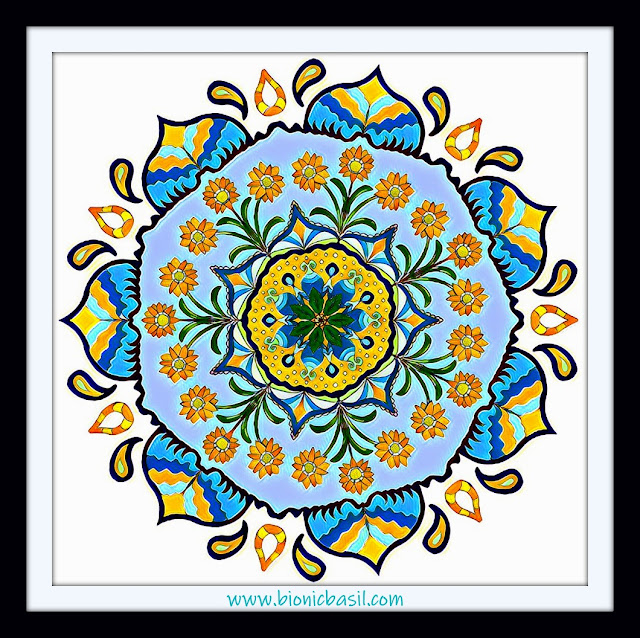 Mandalas on Monday ©BionicBasil® Colouring With Cats Mandala #104 coloured by Cathrine Garnell