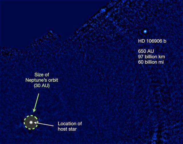 Imagem da descoberta do exoplaneta HD 106906 b - ESO - Vanessa Bailey
