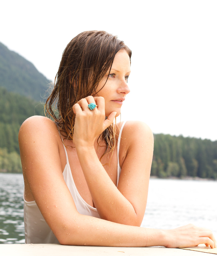 Vancouver Fashion Blogger, Alison Hutchinson, wearing a white LOVE maxi dress and a turquoise cocktail ring from Social Experiment.