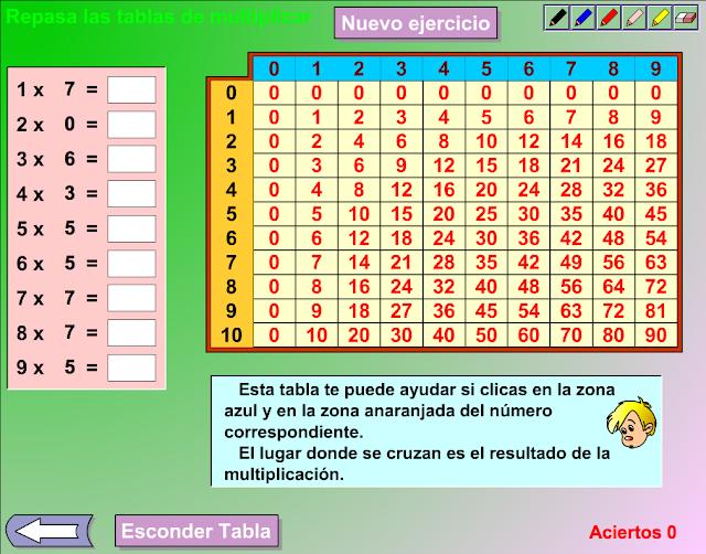 el ratn y las tablas de multiplicar tienes que escribir el resultado de la de los dos nmeros que salen en el cubo y a continuacin