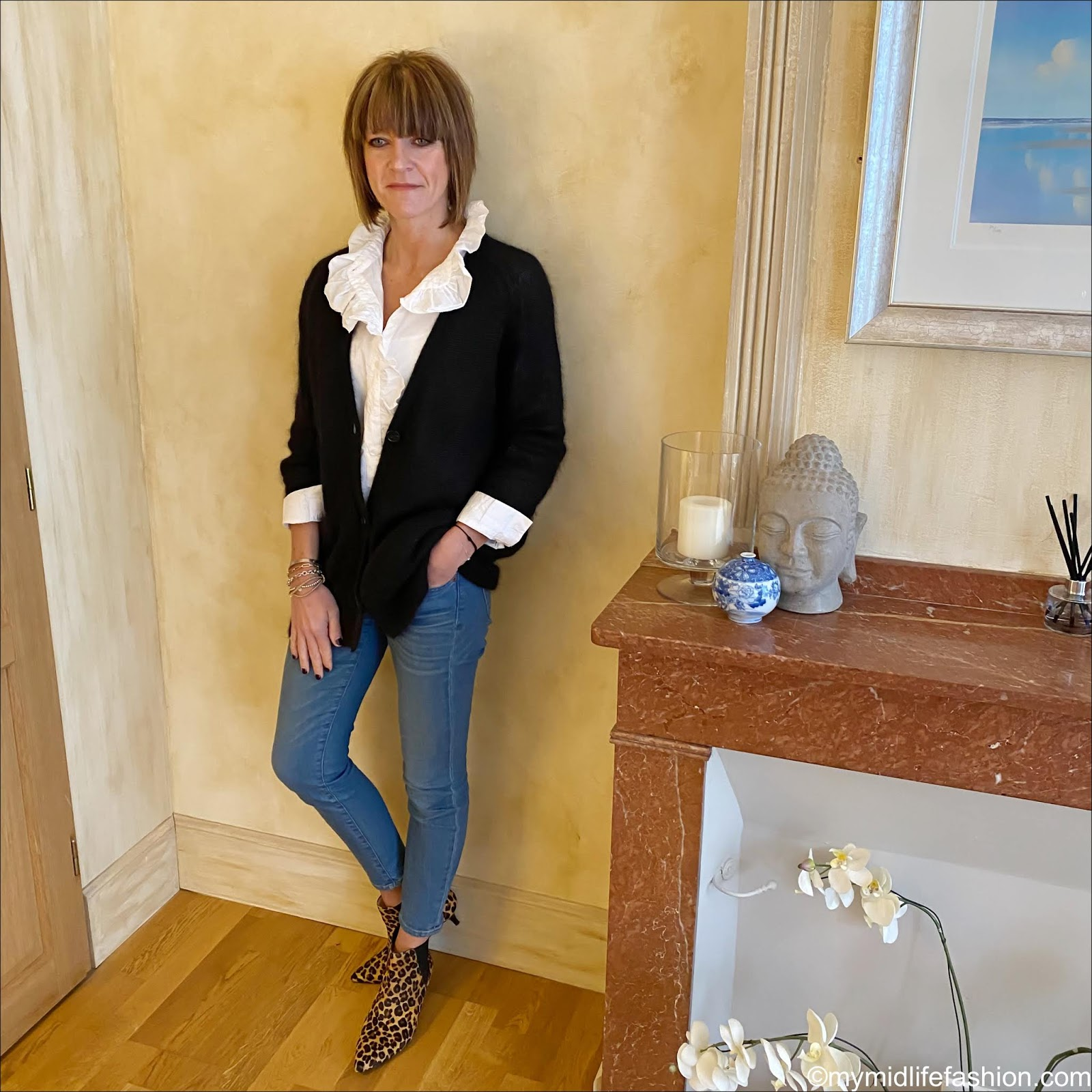 my midlife fashion, Zara frill detail blouse, Isabel Marant Etoile oversized mohair boyfriend cardigan, j crew 8 inch toothpick jeans, hush kitten heel leopard print boots