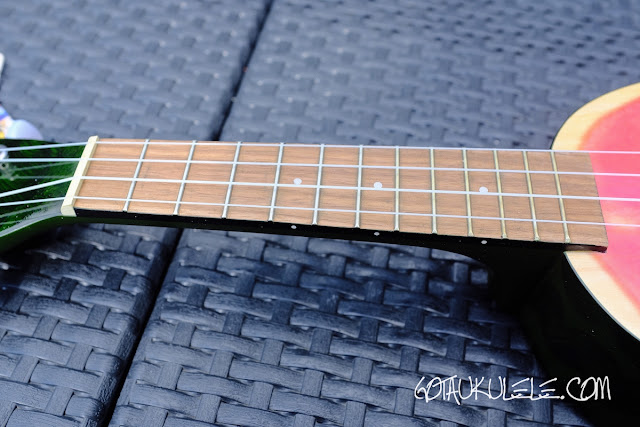 Kala Novely Watermelon Soprano Ukulele neck