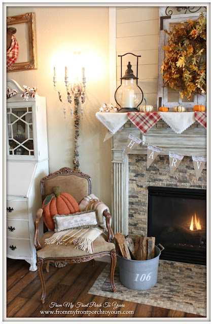 Farmhouse-Fall Mantel- Pumpkin Pillow-From My Front Porch To Yours