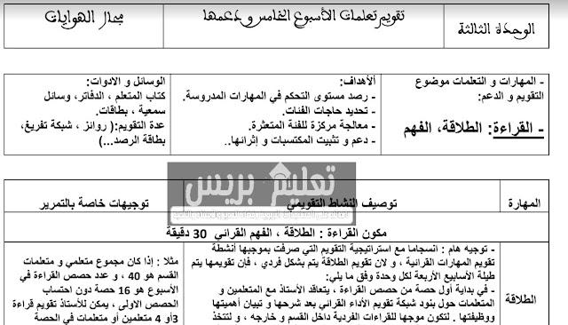 جذاذات أسبوع الدعم الخاص بالوحدة الثالثة مرجع المفيد في اللغة العربية الرابع ابتدائي