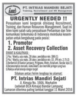 Karir Kerja Lampung PT Intrias Mandiri Sejati