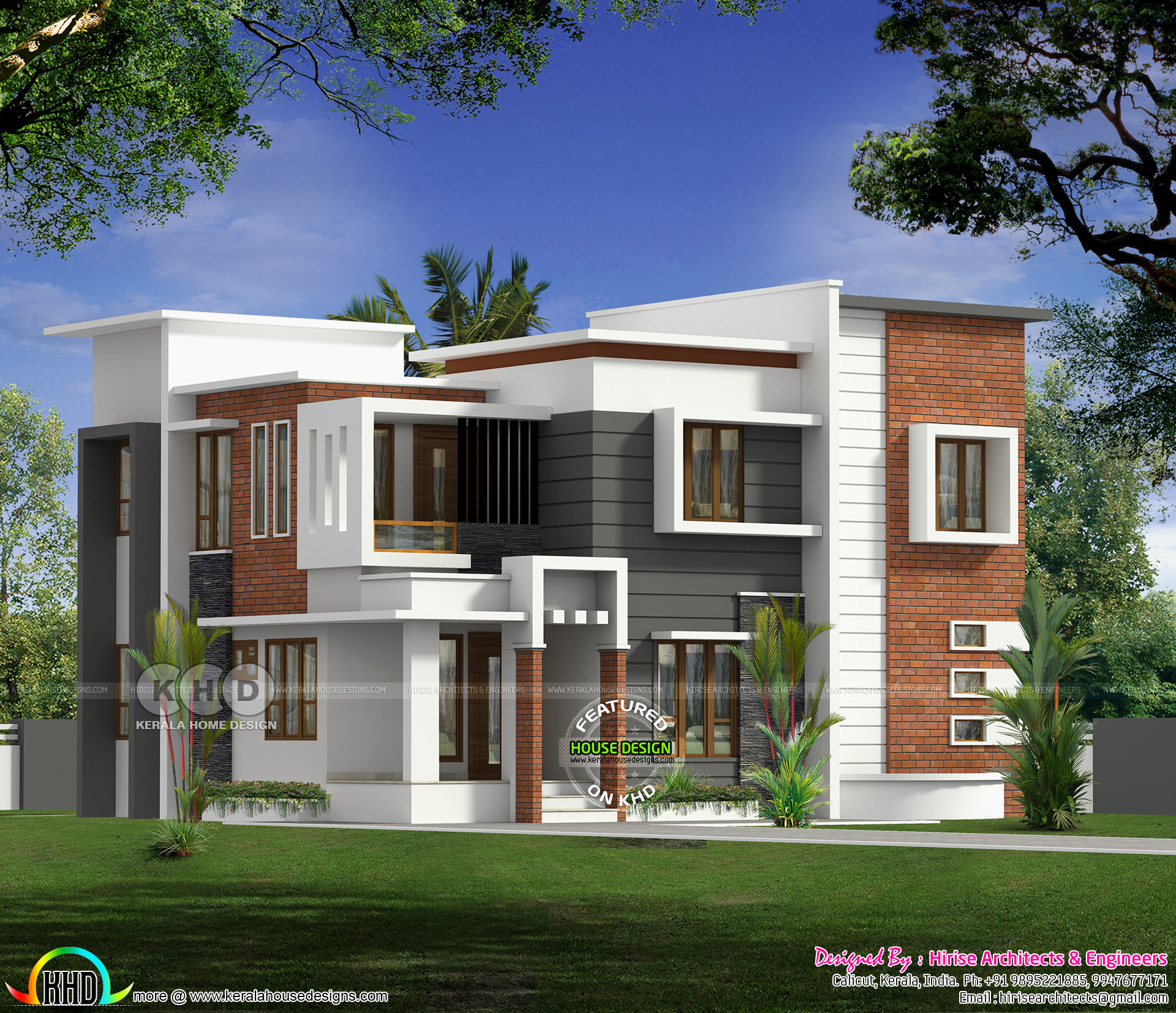 Flat Roof Modern 4 Bedroom House In 2250 Sq Ft Kerala Home Design And Floor Plans 8000 Houses