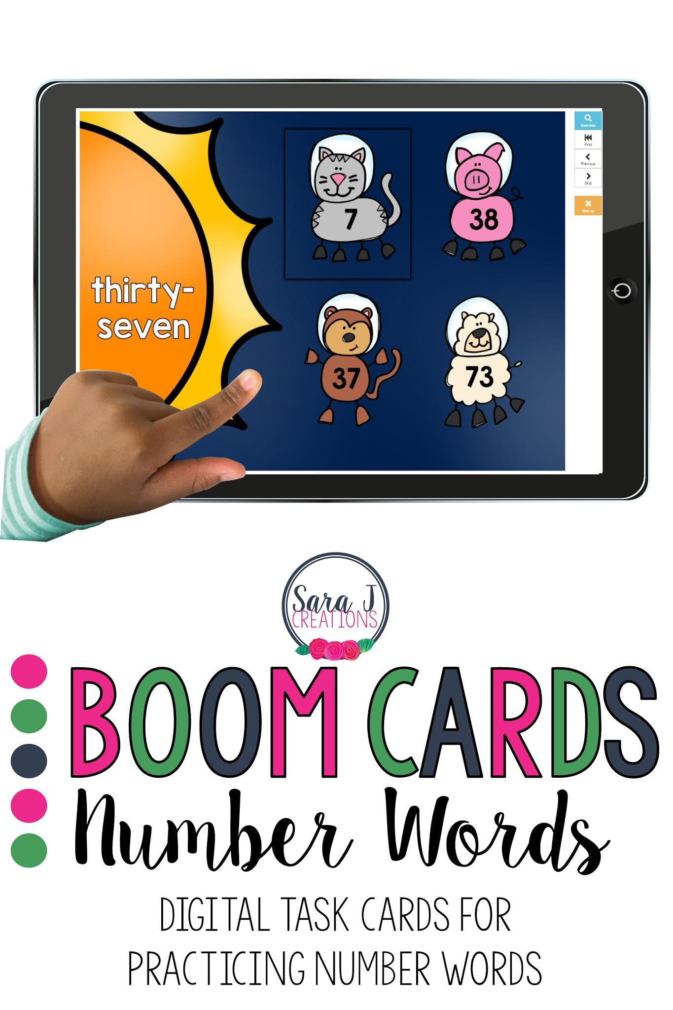 Practice number words with these BOOM Cards. These digital task cards are so fun for kids because it seems like a game but they are practicing number sense skills. Ideal for first or second grade, virtual learning or face to face instruction.