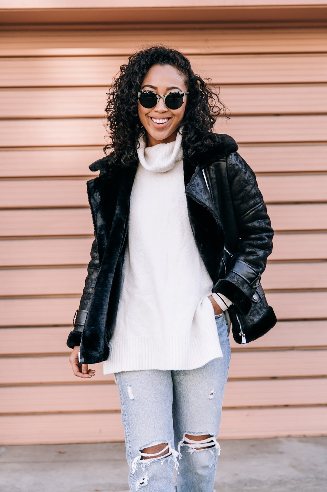 pancakestacker blog; #ootd; outfit; boohoo faux shearling aviator jacket; retro super future sunglasses; Levi's wedgie distressed denim; everlane day heel