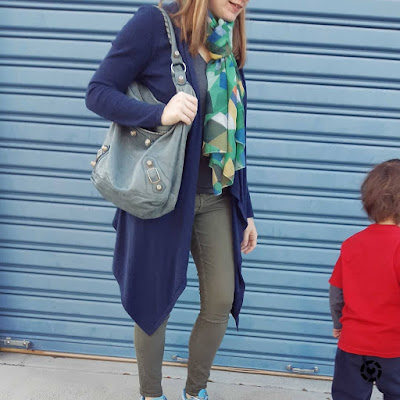 awayfromtheblue Instagram mum life school run outfit winter navy cardigan olive skinny jeans