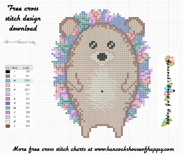Hippie Hedgehog: Free Punk Rock Hedgehog Cross Stitch Pattern to Download