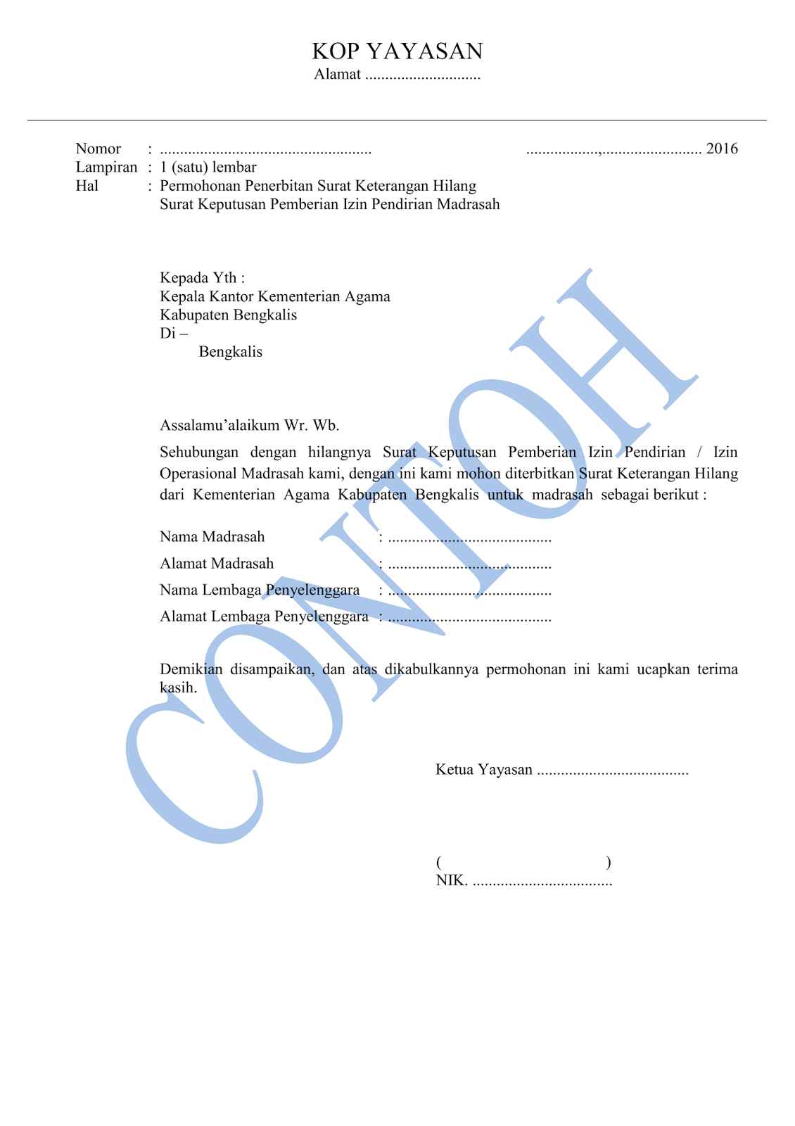 Format Surat Permohonan Penerbitan Surat Keterangan Hilang Sk