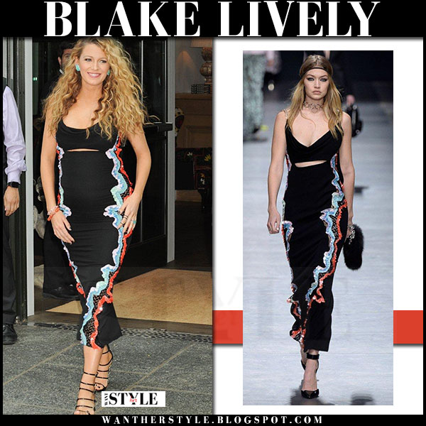 Blake Lively in black maxi embroidered dress versace what she wore