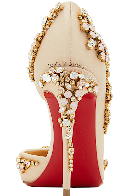 Christian Louboutin neutral Brodiriza bejeweled satin pumps