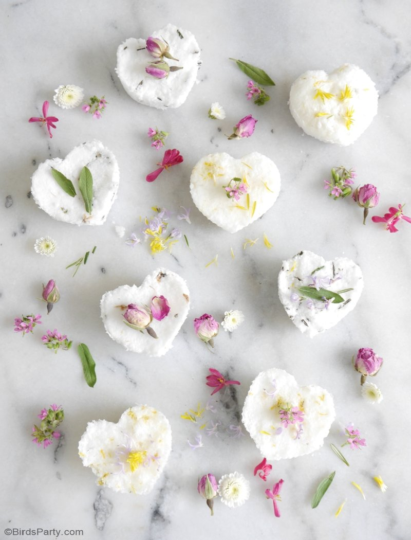 DIY Scented Bath Bombs - made with natural ingredients. A fun activity for bridal showers, spa party favors, handmade Mother's Day or teacher gifts! by BirdsParty.com @birdsparty #diybathbombs #scentedbathbombs #diy #crafts #handmadegift #teachersgifts #homemadegifts #diygifts #spaparty