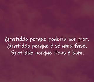 Gratidão porque Deus é bom